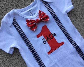Boys First Birthday Bowtie Shirt, Red Polka Dot, Birthday Outfit-BOYS 1st BIRTHDAY OUTFIT,Cake Smash, Suspender and Bow tie Outfit