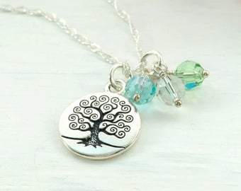 Family Tree Birthstone Necklace  - Tree of Life Pendant - 1 to 8 Stones - Personalized Christmas Gift for Mom - Birthday Present Grandma
