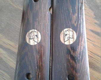 1911 Grips Wenge with Zebra Wood Inlay Spartan - Full Size