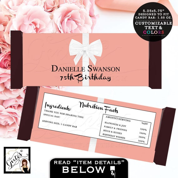 """Candy Bar Wrappers Birthday Party Labels, Decorations, Chocolate Wrapper 75th birthday blush pink labels {2 Per/Sheet 5.25 x 5.75""""}"""