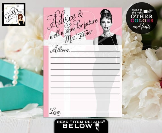 "Wishes for the bride, CUSTOMIZABLE advice and well wishes bride to be, pink, blue, Audrey Hepburn party wish cards digital 5x7"" 2/Per Sheet"