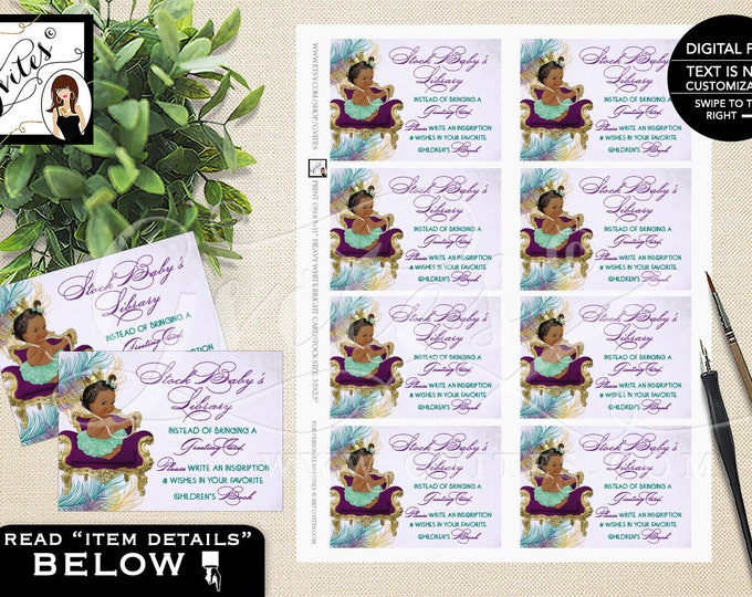"Book for baby, peacock baby shower printable, baby book inserts, princess peacock baby shower, DIGITAL {3.5x2.5""/ 8 Per Sheet}"