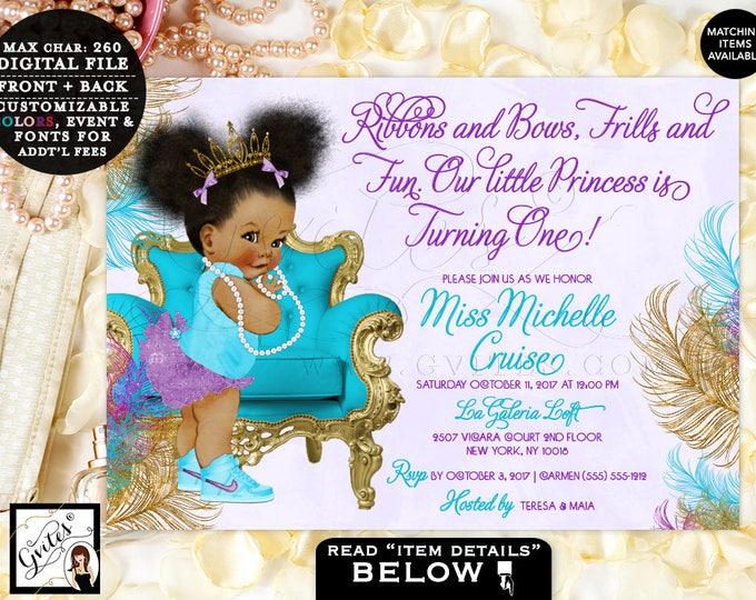 Turquoise Purple Gold Princess First Birthday Invitation, African American baby girl tiara, Ribbons Bows Frills Fun 7x5 #TIAAPC001