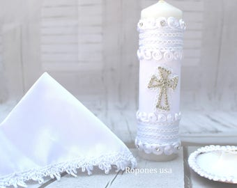 Candle set for Baptism / Religious Candle set/ Baptism candle set /Candle set Hand crafted /Christening Candle set White or Ivory