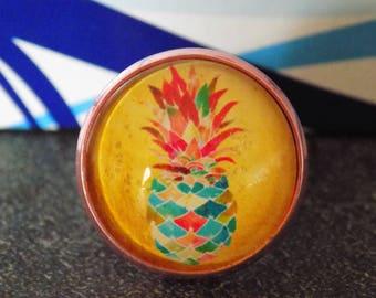 Aluminum, adjustable, pineapple motif cabochon rose ring