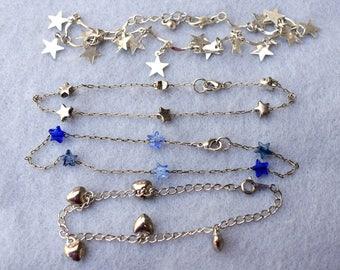 Lot of 3 Star Anklets and 1 Heart Bracelet Silver Tone Vintage