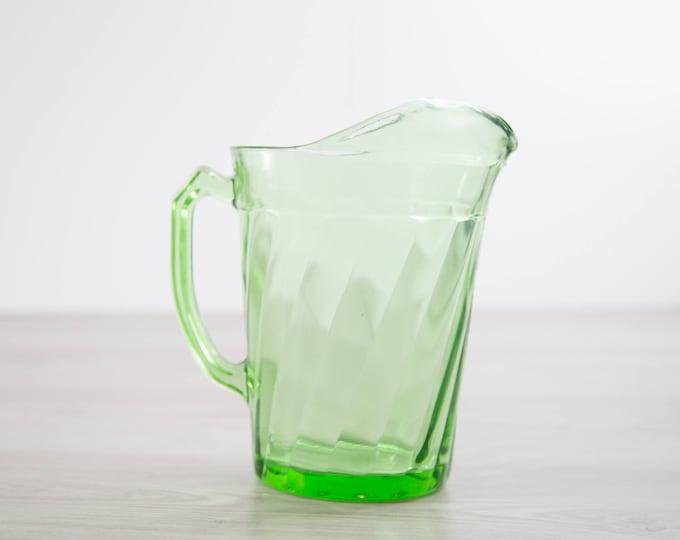 Vaseline Glass Pitcher / Antique Uranium Glass Barware / Vintage Mid Century Modern Swirl Design Carafe That Glows Under Blacklight