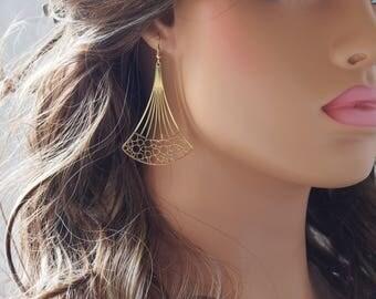 Gold Plated Laser Cut Chandelier Filigree Earrings, Gold Filigree Earrings, Jewelry, Gifts. Delicate Earrings (58MMX41MM)