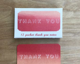 Red-Pink Pocket Mini Thank You Cards Screen Printed By Hand