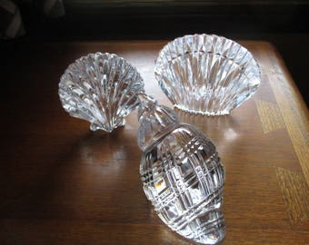 Waterford Crystal Conch Shell and seashell bookend and shell paperweight