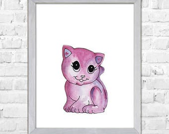 Cat Watercolor Print, Cat Art, Cat Print, Cat Watercolor, Watercolor Painting, Watercolor Animal, Cat Poster Print ,Home Art Decor