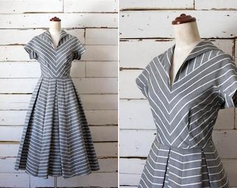 adeline dress  //  vintage 1950s cotton striped dress