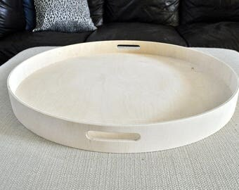 """30"""", 32"""" or 36"""" Round Large Ottoman Tray - Raw"""