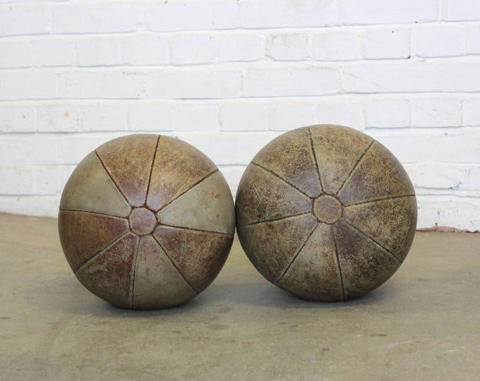 Large Leather Medicine Balls Circa 1950s