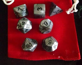 Retrocon Sale - Silver Medal - 7 Die Polyhedral Set with Pouch