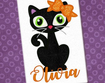 Personalized Halloween Girly Kitty Cat with Bow or Witch Hat or Boy Cat with Bowtie Applique Shirt or Onesie for Boy or Girl