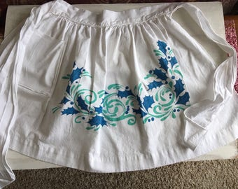 Vintage White Christmas Half Apron With Blue Holly Leaves