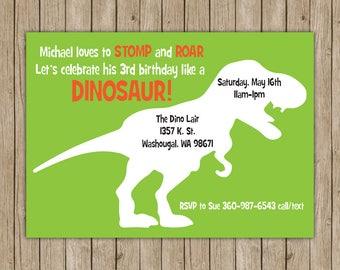 Dinosaur Birthday Invitations- Digital File OR Printed Invites- Dinosaur Party- Birthday Invites- Dinosaur Birthday