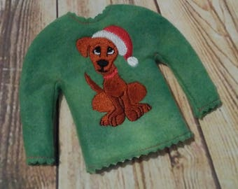 100% In the Hoop - Santa - Puppy - Dog - Doll Sweater - 5 x 7 Only - Fleece is Suggested -  DIGITAL Embroidery Design
