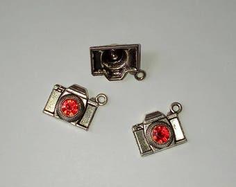 X 2 Tibetan silver camera lens cabochon Red