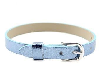 Faux leather blue 22 cm bracelet