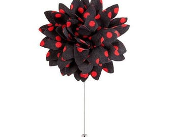 Brooch pin black flower with red polka dots