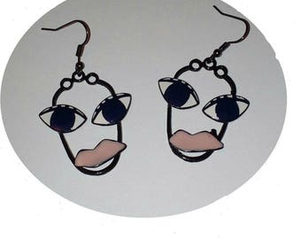 Blue-eyed face earrings