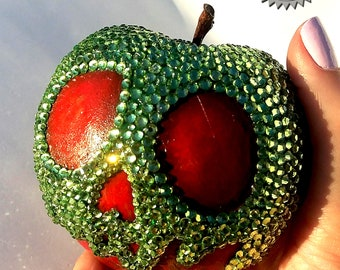 Snow White Crystal Poison Apple - OOAK hand sculpted, painted w 1,563 Crystals