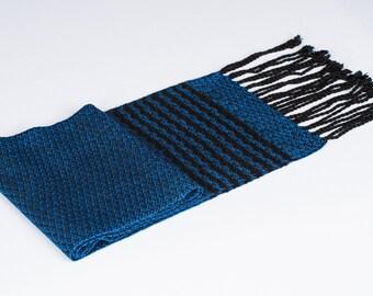 Blue Black Tencel Scarf Handwoven Woman Man Accessory Gift Vegan Stripe Blue Black