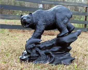Bear With Salmon on Rock Stone Base Statue Sculpture Garden Decor