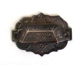 Large Solid Brass Victorian BIN PULL Back Plate, Vintage Hardware for Restoration