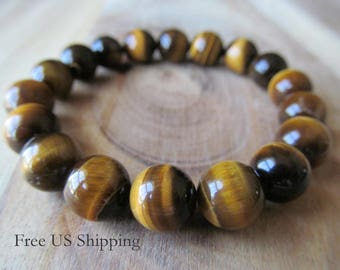 10mm Tiger Eye Bracelet, Mens Bracelet, 10mm Tigereye Bracelet, Mens Jewelry, Gift for Men, Yoga Jewelry, Stacking Bracelet, Mala Bracelet