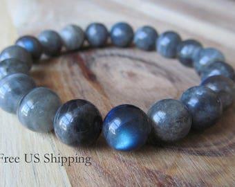 10mm Labradorite Bracelet, Women or Mens Bracelet, 10mm  Bracelet, Mens Jewelry, Gift for Men, Yoga Jewelry, Stacking Bracelet