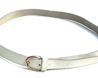 """Vintage White Belt,Vintage Belt,Solid White Off White Genuine Leather Belt,Cruz Bel® Made in Portugal,Fits 34""""-37"""" (approx),Boho Jean Belt"""
