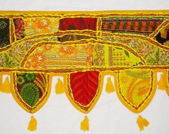 Yellow Indian cotton window valance topper vintage sari patchwork embroidery door decor wall hanging toran