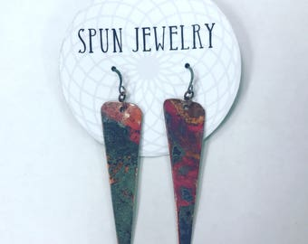 Recycled Copper-Sunburst Dagger Earring