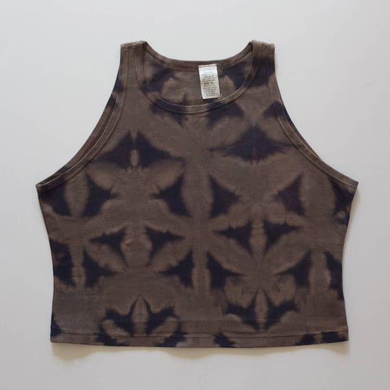 XL Tan & Black Itajime High Neck Crop Top