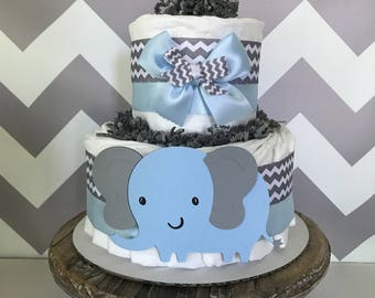 Small 2 Tier Elephant Diaper Cake in Blue and Gray, Elephant Baby Shower Centerpiece