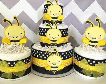 SET OF 3 Bumble Bee Diaper Cakes Baby Shower Centerpieces Party