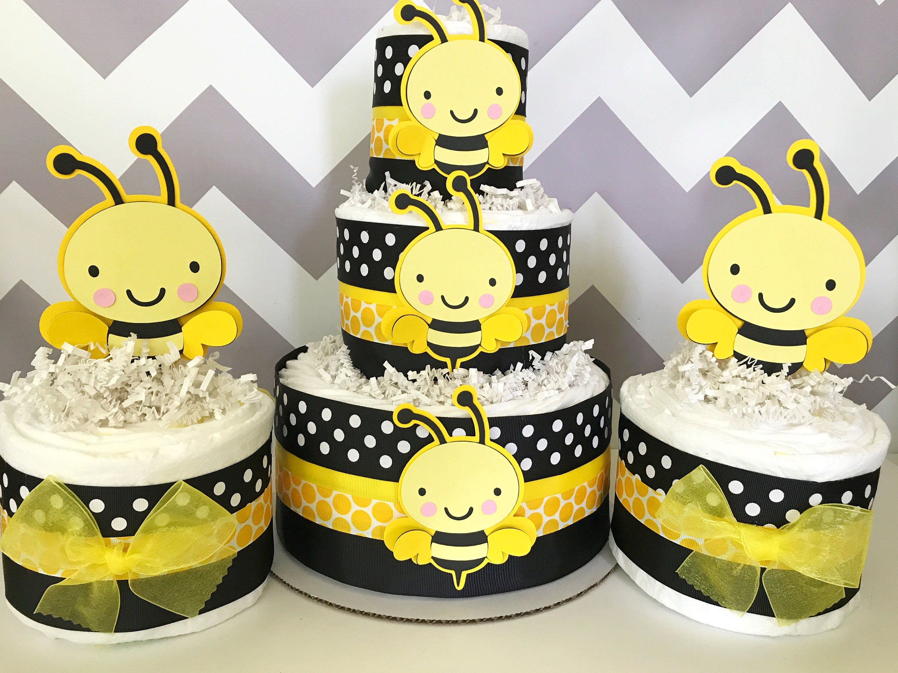Set Of 3 Bumble Bee Diaper Cakes Baby Shower