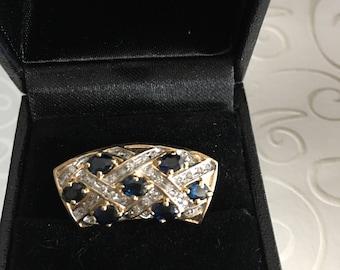 Stunning Sapphire and Diamond Slide Pendant 14KY Gold