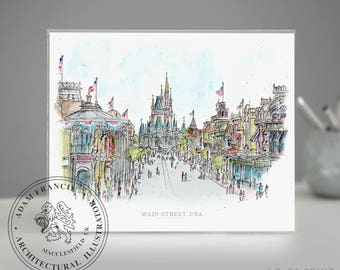 Main Street USA | Disney World | Art prints taken from my pen drawing & watercolour painting. Magic Kingdom drawing, Main St Disney.