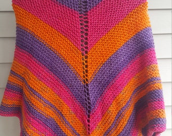 shawl, knit shawl, multicolor shawl (guava pop)