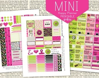 Summer Lovin' Pink and Lime Green - Mini Happy Planner Printable Stickers Instant Download three JPEG files