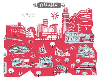 Wall Art-Omaha-Art Print-2 Color-City Illustrations-10x8-Red-Light Blue-Grey