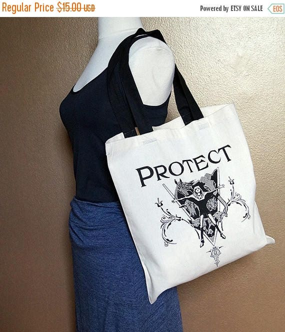 "ON SALE Tote bag ""Protect,"" black on natural white"