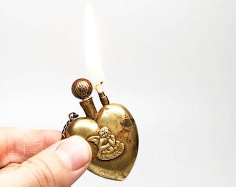 TRENCH ART LIGHTER - Working Antique 1920s Cherub Heart Shaped Brass Trench Art Hand Made Lighter