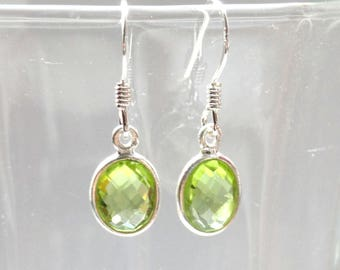 Peridot earrings, Sterling silver peridot earrings, Peridot jewellery, Peridot jewelry, Green stone earrings, Bridal earrings