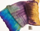 Sock Blank | 100g 400yds | 75/25 Superwash Wool / Nylon | Hand Painted in Purple, Blue, Green, Beige | Double Strand