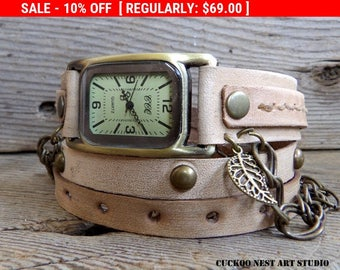 Women's leather watch, Bone color wrap watch, Leather wrist watch, Bracelet watch, Teacher's gift, Gift for Mom
